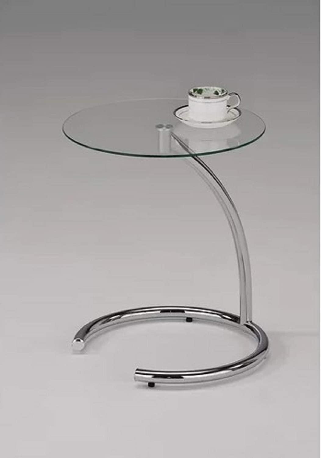 Glass Top End Table. Boasting a Contemporary Appearance Despain with Glass Top End Table, Measuring 19'' H x 16'' W x 16'' D (Chrome)