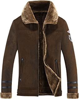 ebossy Men's Textured Shearling Faux Suede Leather Jacket Fur Collar Winter Coat