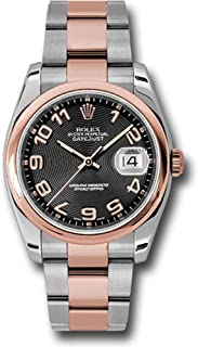 Rolex Oyster Perpetual Datejust 36mm Stainless Steel Case, 18K Pink Gold Domed Bezel, Black Concentric Circle Dial, Arabic Numeral and Stainless Steel and 18K Pink Gold Oyster Bracelet.