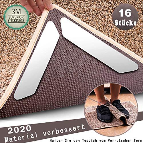 16 Stück wiederverwendbare rutschfeste Antirutschmatte mit 3M Klebeband 180x30cm Premium Anti Curling Teppichgreifer, Teppichunterlage, Teppichunterleger, Teppichunterlage, Rutschschutz für Teppich