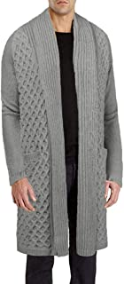 Men's Cardigan Sweater Long Knit Jacket Thermal Wool Shawl Collar Coat