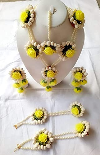 Flower Gota Patti Jewellery With Necklaces Earrings For Women Yellow Color