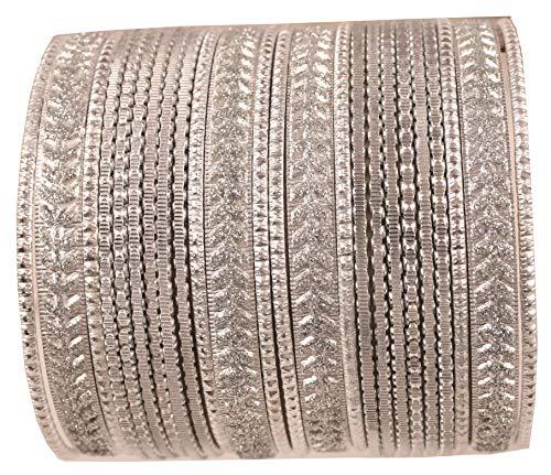 Touchstone Metallic bunte 2 Dutzend Armreif Sammlung Indian Hollywood Schmuck spezielle Armreif Armbänder für Damen 2.75 Set 2 Silber Weiss