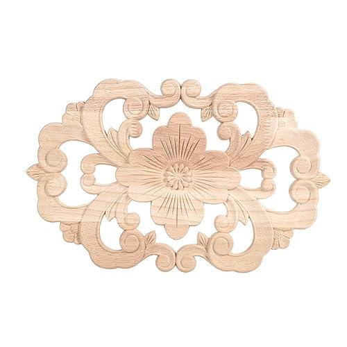 Paquete de 2 muebles de apliques de madera tallada en esquina Onlay sin pintar para la