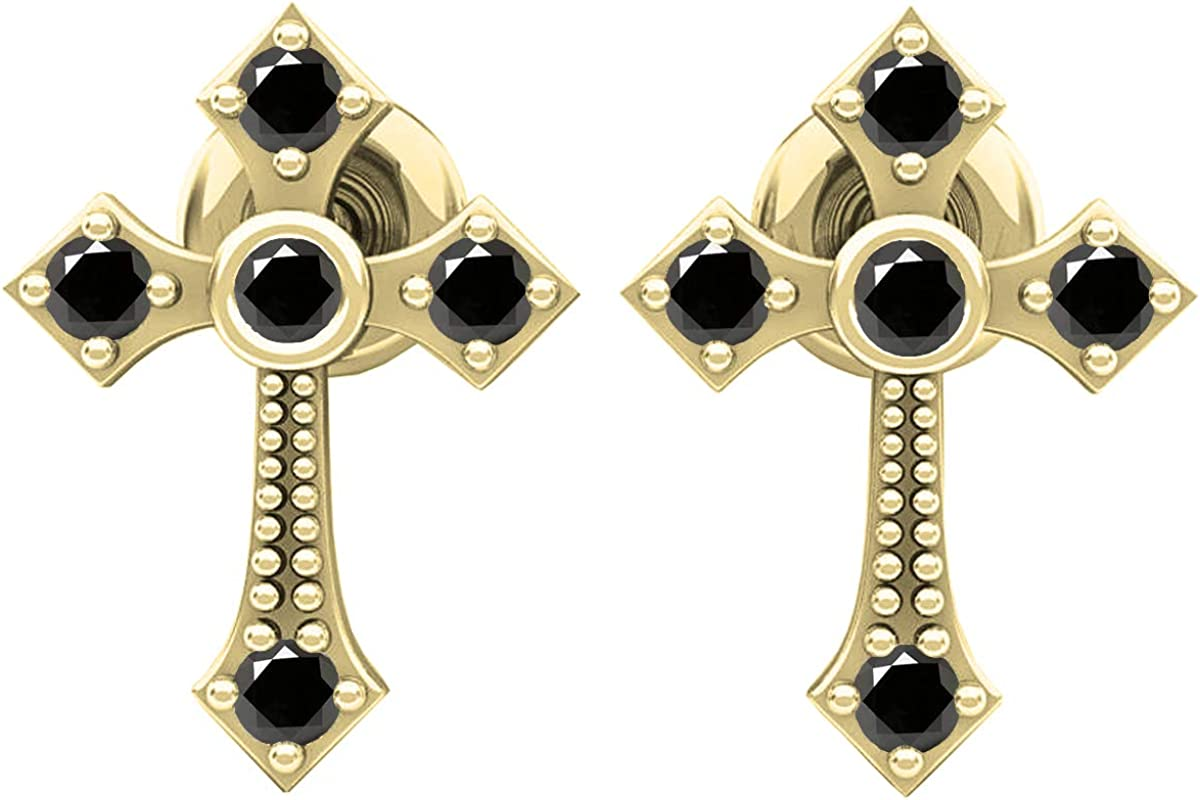 Dazzlingrock Collection 14K Round Gemstone Ladies Cross Drop Earrings, Gold