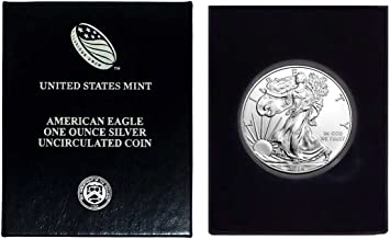 2016-1 Ounce American Silver Eagle in Plastic Air Tite and Blue Gift Box with our Certificate of Authenticity Dollar Uncirculated Us Mint