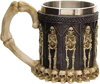 MIS1950s 3D Coffee Mug Resin Tankard Viking Skull Death Double Wall Stainless Steel Tea Cup for Christmas,Halloween,Thanksgiving and Birthday