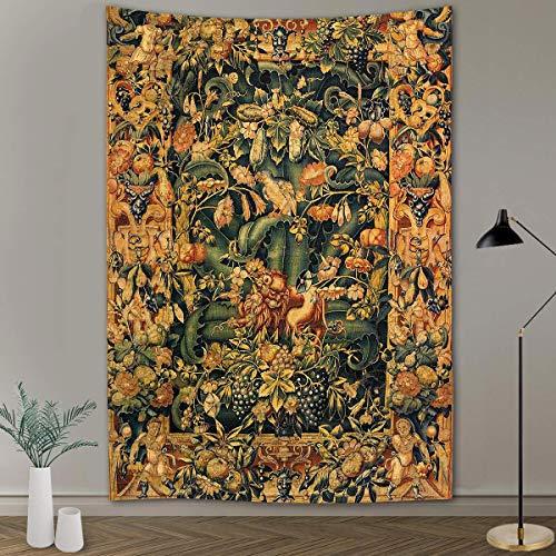 Abstrakte Blumentapisserie Kürbislaterne Nachthimmel Kunst Wandbehang Hintergrund Stoff Wohnzimmer Wohnheim Wohnheim Dekoration a1 130x150cm