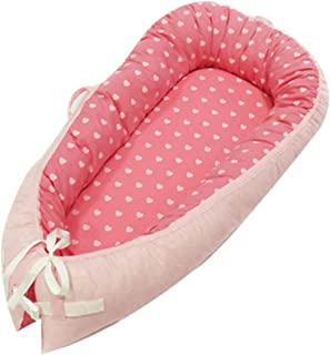 Baby Lounger Baby Nest Baby Bassinet for Bed Newborn Lounger Portable Cribs -100% Organic Cotton Baby Portable Crib Perfect for Travel with Extra Soft Cotton Pad Perfect for Co-Sleeping (Pink)