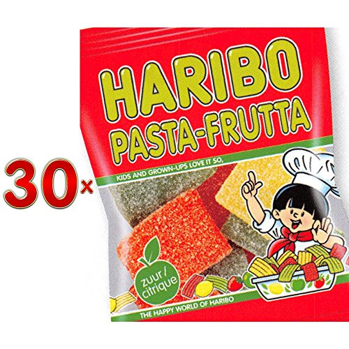 Haribo Pasta Frutta Sachet 30 x 75g Packung (saure Fruchtgummistreifen)