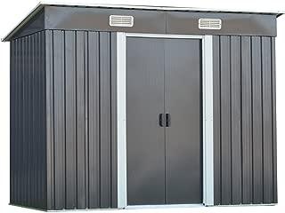 Goplus Galvanized Steel Outdoor Garden Storage Shed 4 x 8 Ft Heavy Duty Tool House W/Sliding Door (Gray)