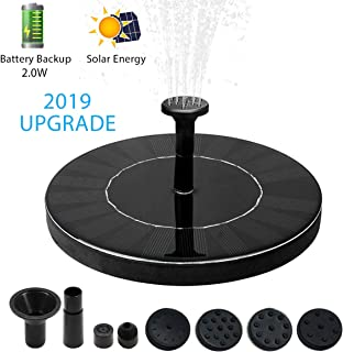 Kyerivs 2.0W Water Solar fountain Pump with built-in Battery Backup(2019 Upgraded),Circle Garden Upgraded Floating Fountain Pump for Birdbaths &Ponds,Solar Powered Water Fountains Submersible Pump Kit