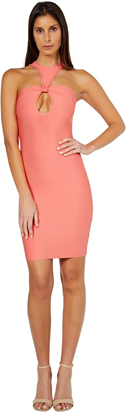 Twist Front Keyhole Bandage Dress