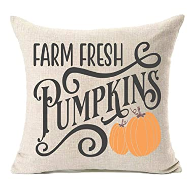MFGNEH Farm Fresh Pumpkins Cotton Linen Fall Pillow Covers 18x18 Inches Fall Decor Farmhouse Autumn Cushion Case for Sofa