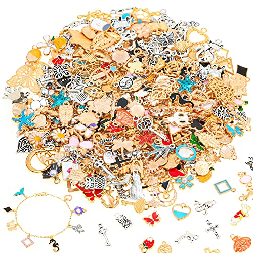 400 PCS Charms for Jewelry Making, Kanzueri Wholesale Bulk Assorted Enamel Charms Earring Charms for DIY Necklace Bracelet Pendants Keychains Jewelry Making and Crafting