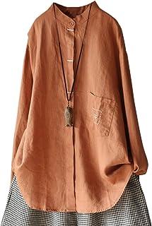 IXIMO レディース シャツ ブラウス 麻 無地 長袖 スタンドカラー 開襟シャツ 刺繍入り かわいい きれいめ 薄め カーディガン アウター トップス 6色展開