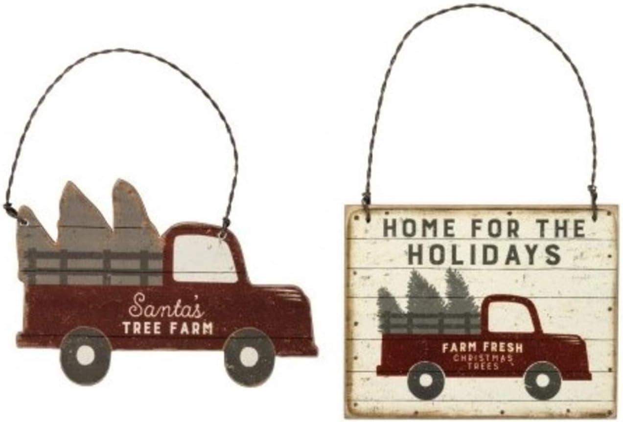 S&C Christmas Market Ornaments Santa's Red Farm Truck Wood Ornaments Bundle Set, Vintage Farmhouse Primitive Decor