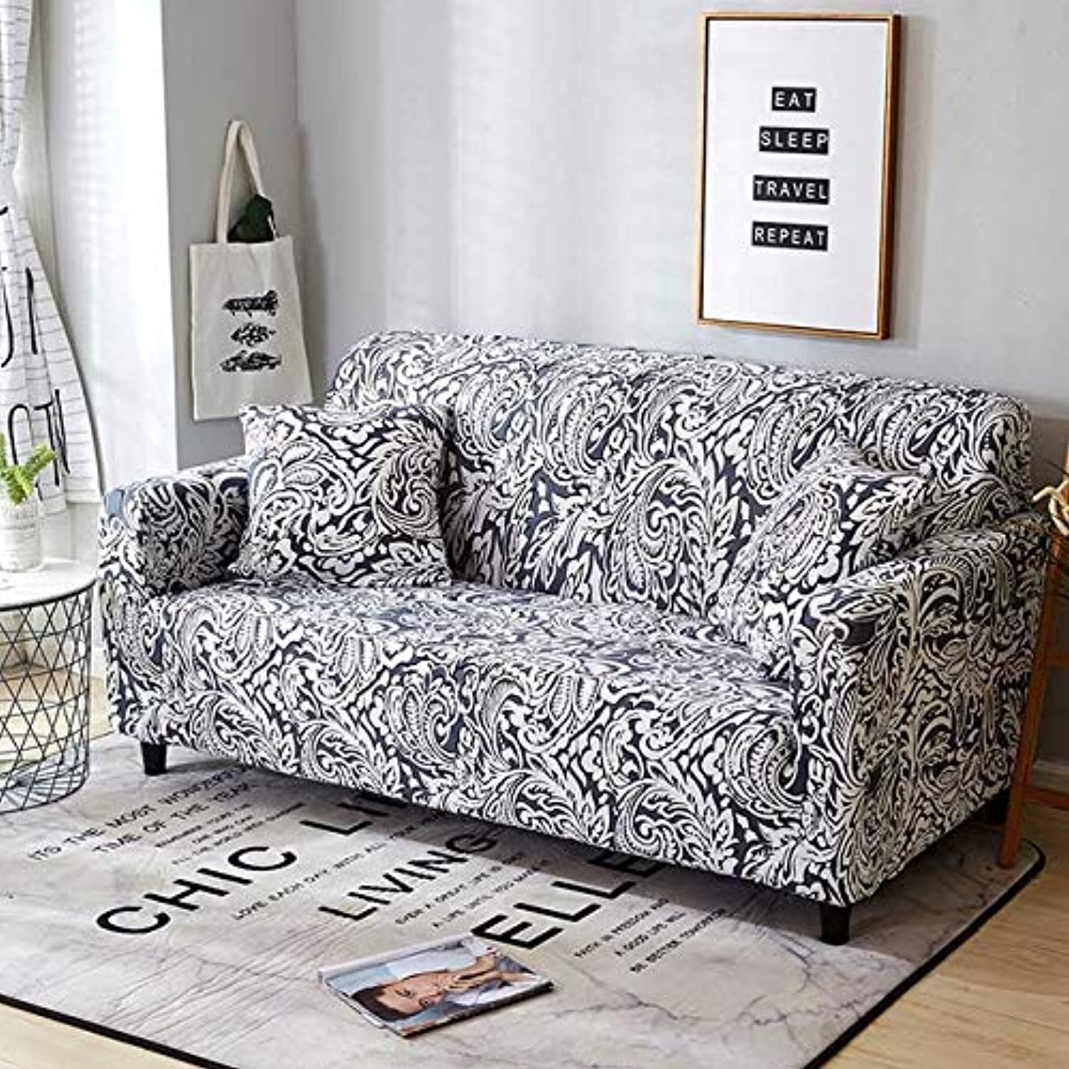 Nordic Style Modern Printing Sofa Cover Stretch Tight Wrap All-Inclusive Removable Slipcover for Living Room Furniture Covers   color 3, 2seater 145-185cm