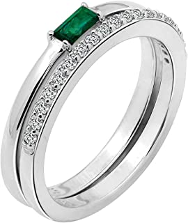 Swarovski Zirconia Ring Set of Green Minimalist Baguette Solitaire Ring and Half Eternity Band Ring