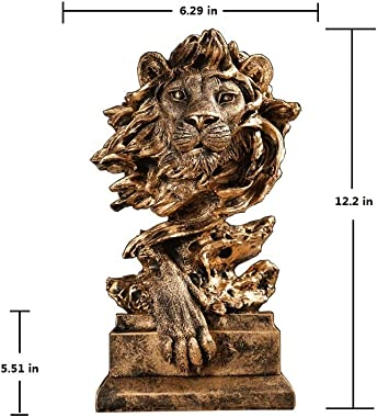 """TIPPOMG Lion Head Statue,King of Beasts,12.2"""" High,Antique Gold,Handmade,Felidae Animal Sculpture,Lion Statue for Living Room or Office"""