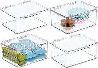 mDesign (lot de 4) boite de rangement pour la cuisine, le garde-manger ou le bureau – organiseur en plastique sans BPA ave...