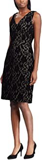 RALPH LAUREN Womens Black Lace Sleeveless V Neck Above The Knee Sheath Wear To Work Dress US Size: 6
