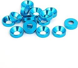 SOURCING MAP sourcingmap/® M5 Arandea cabeza de copa de aleaci/ón de aluminio de parachoques de guardabarros de compartimento de motor azul cielo 15pcs