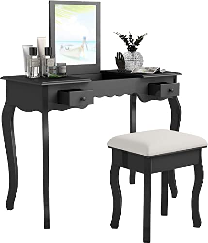 lowest Giantex Vanity Set with Flip discount Top Mirror and Cushioned Stool, Makeup Dressing Table with Removable Jewelry Organizers and 2 Drawers, Modern Makeup Table Writing Desk for Girls online Women Bedroom, Black online sale