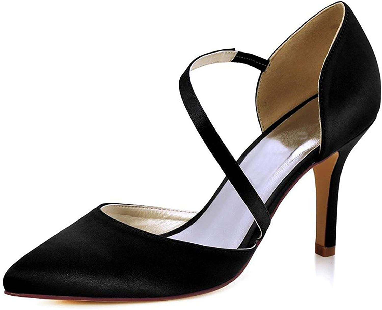 ZHRUI Damen-Spitzeknchel-Verpackungs-Satin-Stilvolle Hochzeits-Geschfts-Party-Schuhe (Farbe   schwarz-9cm Heel, Gre   6.5 UK)