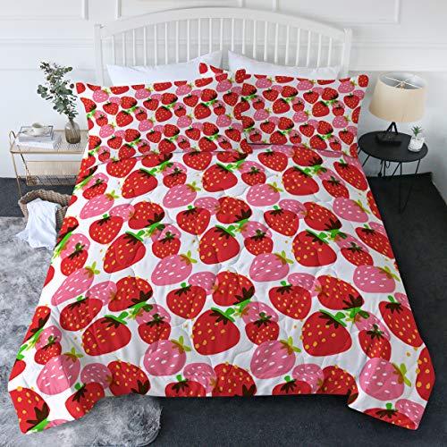 BlessLiving Strawberry Comforter Set Full/Queen,...