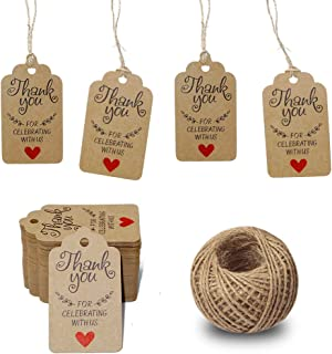 Original Design Thank You for Celebrating with Us Tags,100PCS 7cm X 4cm Paper Gift Tags with 100 Feet Natural Jute Twine Kraft Hang Tag for Wedding Party Favors, Baby Shower Decorations (Brown)