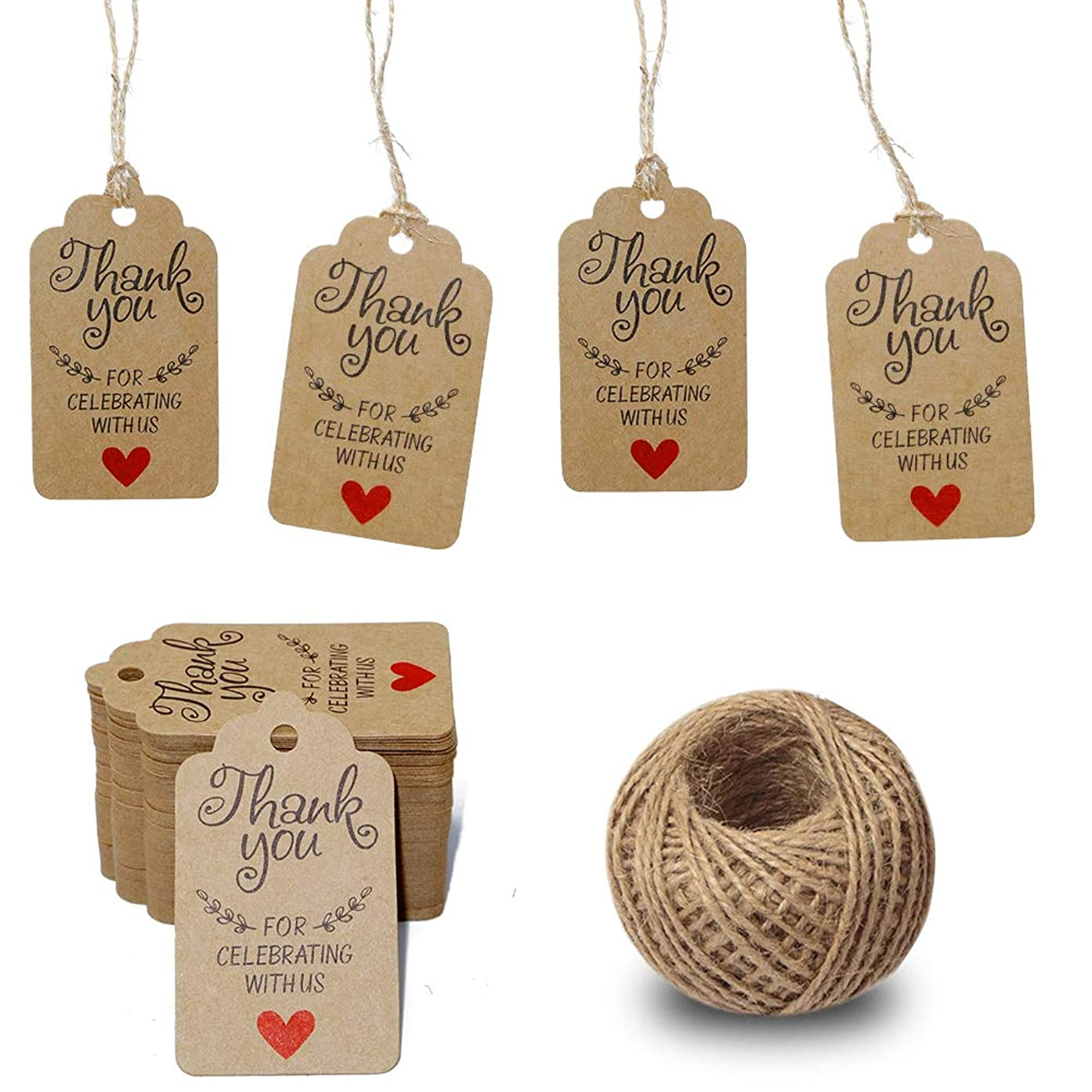 Gift Tags,Baby Shower Tags,Thank You for Celebrating with Us Tags,100 Pcs Kraft Thank You Tags for Wedding Party Favors Thanksgiving with 100 Feet Natural Jute Twine,Brown