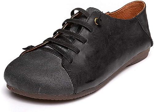 ZHRUI zapatos Planos con Cordones Mary Jane de Cuero Perezoso para mujer (Color   negro, tamaño   EU 37)