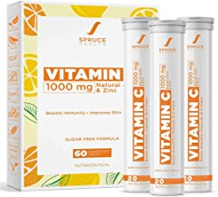 Spruce Health Vitamin C with Zinc 1000mg Effervescent Tablet | Immunity Booster with Natural Amla & Zinc | Natural Anti Ox...