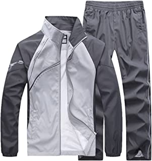 Men's Fitted Exercise Tracksuit Set 2 Pieces Full-Zip Casual Jogging Athletic Workout Sweat Suits