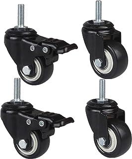 YJJT Rubber wielen, M8 M10 vervangende wiel, bewegende wielen, met 360 graden bovenplaat en lager, Rubber basis, niet-mark...