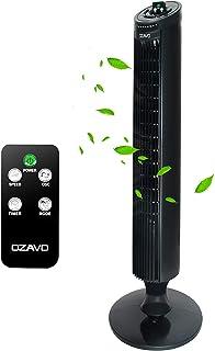 OZAVO Ventilador de Torre Oscilante con Control Remoto, Temporizador Programable, 3 Velocidades, 45 W, Oscilación de 70º, para Casa y Oficina, 33 Pulgadas Color Negro