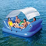 LANGWEI Floating Island Raft with Sun Shade, Adult 4 Seat Heavy Duty Inflatable Rafts Sport Lounge with Attached Cooler   Funny Water Lounger with Canopy
