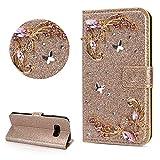 DasKAn Diamant Glitzer Leder Hülle für Samsung Galaxy S10, Schmetterling Blumen Strass Magnetisch Klapphülle Handy Tasche mit Kartenfach Standfunktion Stoßfest Brieftasche Schutzhülle,Gold -