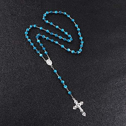 JINKEBIN Collares Rosario Cross Colgante Collar Largo para Mujeres Hombres Católico Cristo Religioso Jesús Azul Black Metal Joyería Regalo R-225 (Metal Color : R 225 Blue)