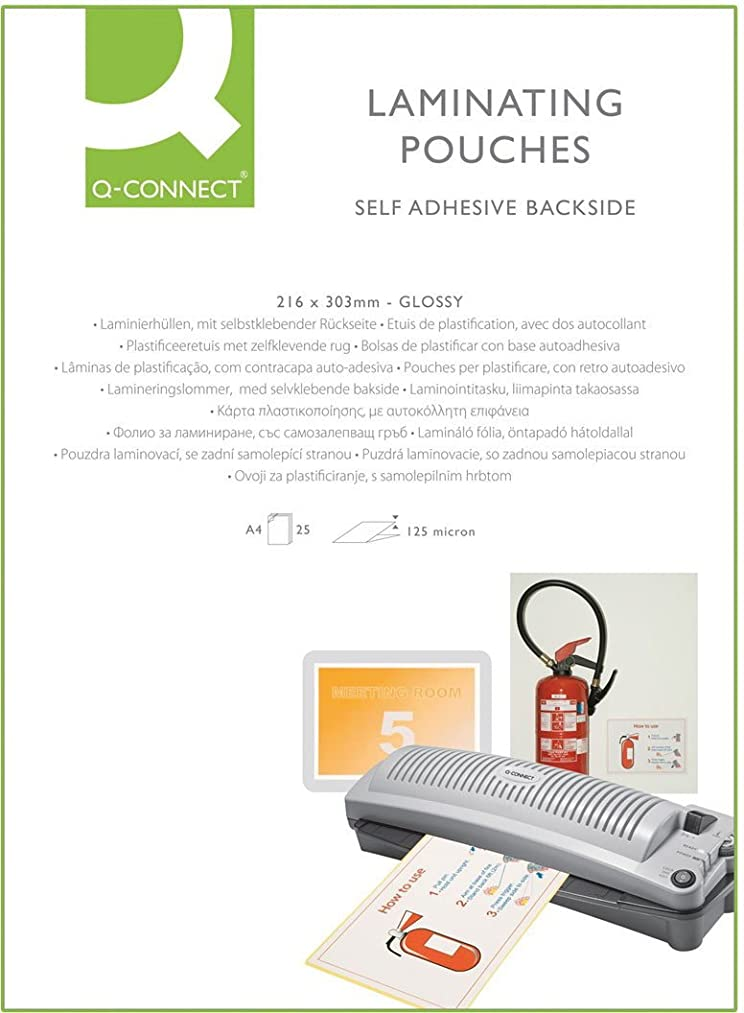 Q CONNECT A4 STICKY BACK LAM POUCH PK25 oa3900980