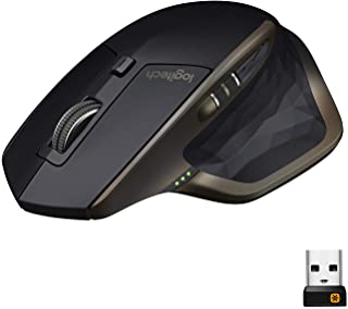 Logitech MX Master Wireless Mouse, Bluetooth or 2.4 GHz with USB Unifying Mini-Receiver, 1000 DPI Any Surface Laser Tracki...