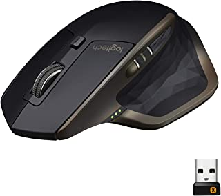Logitech MX Master Wireless Mouse, Bluetooth or 2.4 GHz with USB Unifying Mini-Receiver, 1000 DPI Any Surface Laser Tracking, 5-Buttons, Amazon version, PC/Mac/Laptop - Graphite Black