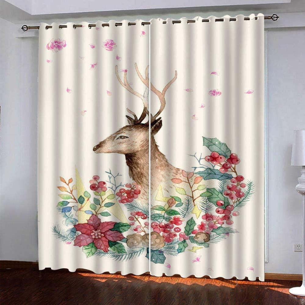 5% OFF favorite YDVTVS 3D Printed Blackout Curtains Gromm elk Watercolor Flowers