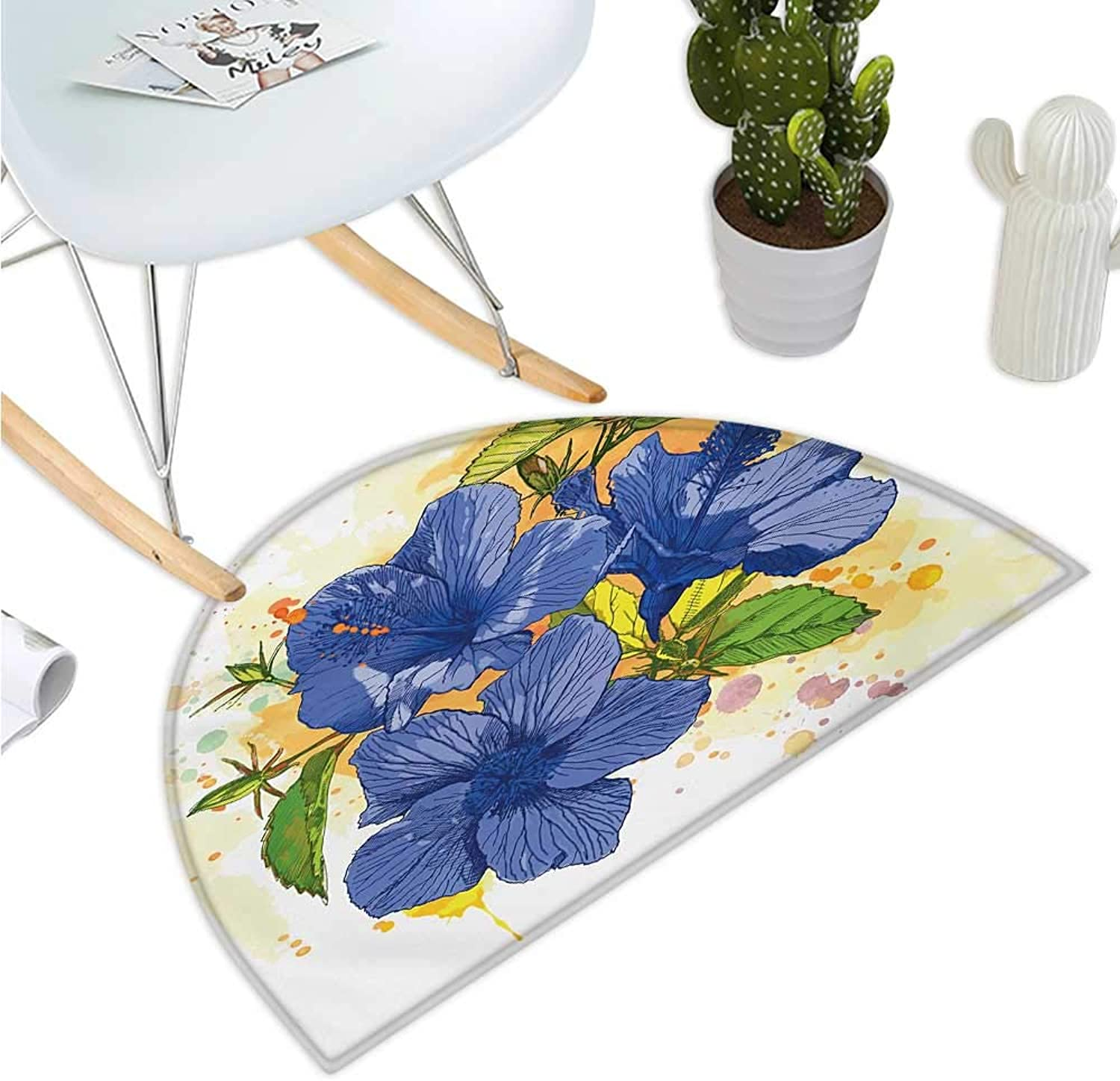 Tropical Half Round Door mats Hibiscus Flourishes Exotic Foliage Organic Bouquet Watercolor Bathroom Mat H 47.2  xD 70.8  purple bluee Mustard Green White