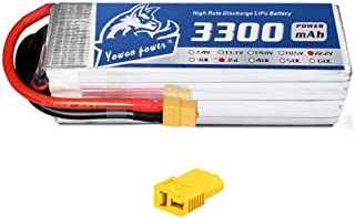 YOWOO 6S Lipo Battery 3300mAh 22.2V 60C RC Batteries with XT60 / Deans T Plug for RC Airplane RC Helicopter RC Quadcopter Drone Car Truck Boat Model (5.35x1.65x1.57in,1.11lb) (XT60 Plug)
