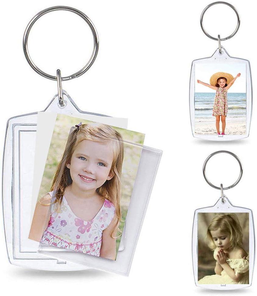 PH PandaHall 30pcs Acrylic Photo Snap in Keychain 1.2x1.8 inch Rectangle Custom Blank Photo Keyring DIY Picture Frames Clear