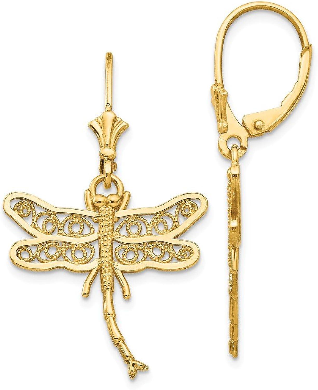 14k Dragonfly w Filigree Wings Leverback Earrings