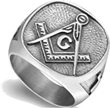 Jude Jewelers Stainless Steel Freemason Signet Style Masonic Ring