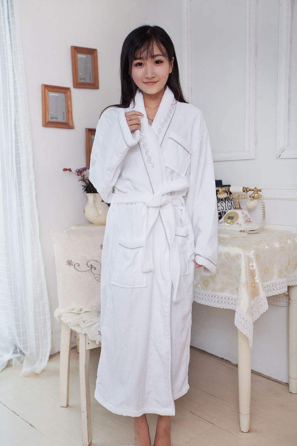 DALAI Autumn Thick Cotton Bathrobe Hotel Cotton Gowns Couple FiveStar highend Robe (color   White) (color   White)